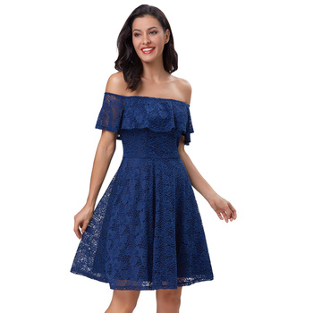 0f471a25f42c Grace Karin Sexy Women s Short Sleeve Off Shoulder Navy Blue Floral Lace  A-Line Dress