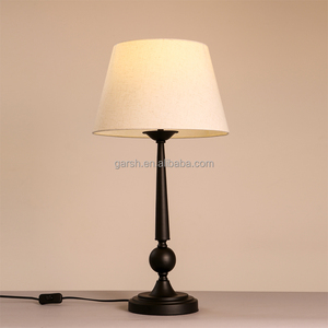 Decorative Beige Fabric Black Metal Table Lamp For Hotel Project