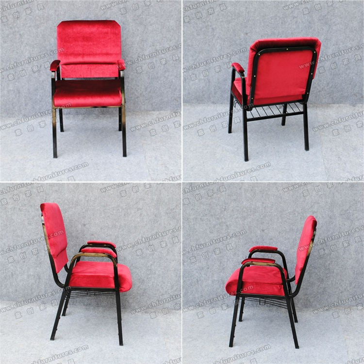 High Quality Red Theater Furniture Church Chairs With Arms