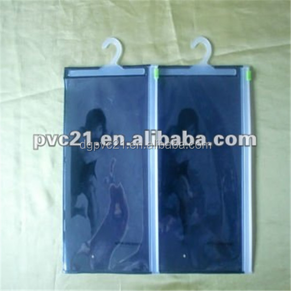 Clear clothes bag, ziplock and hook hanger plastic bag,shorts and underwear packing bag