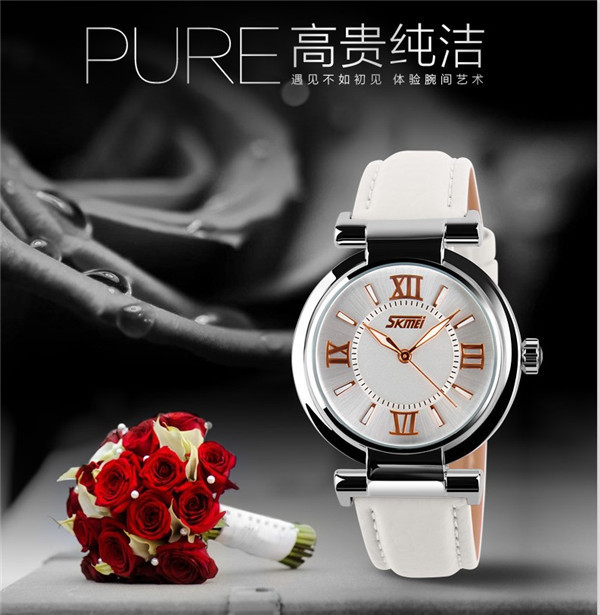 High Quality Good-looking SKMEI 9075 Vintage Leather Lady Watch