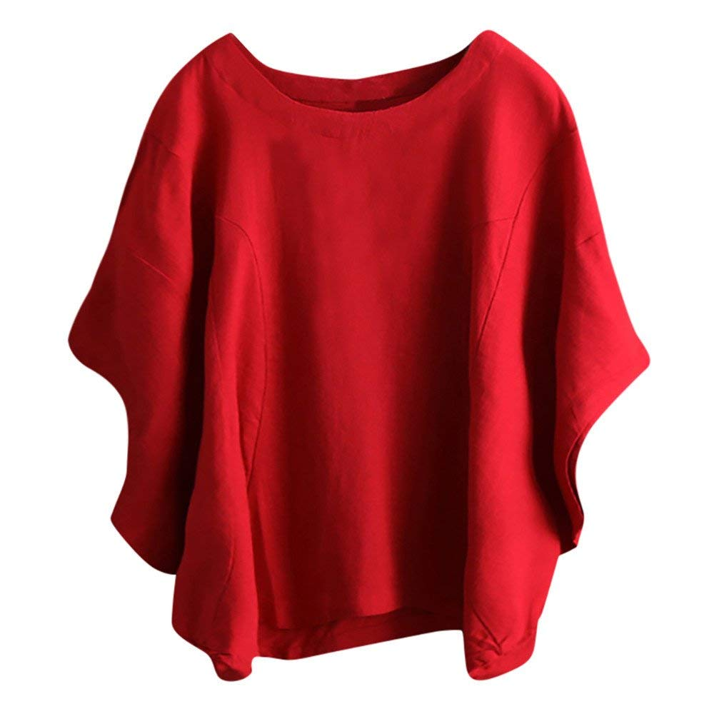 Women Tops Clearance Sale! Women's Shirt Plus Size O-Neck Long Sleeve Tunic Solid Casual Vintage Blouse