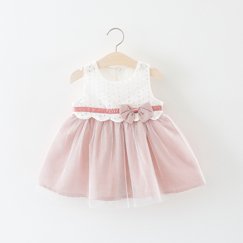 sleeveless bow lace baby dress girls summer baby princess dress price