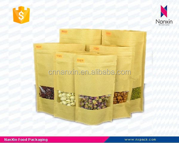 kraft paper resealable stand up pouch with window