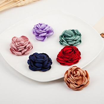Wholesale Handmade Beautiful Double Satin Ribbon Flower Hair Accessories For Hair Hoop/Band Women