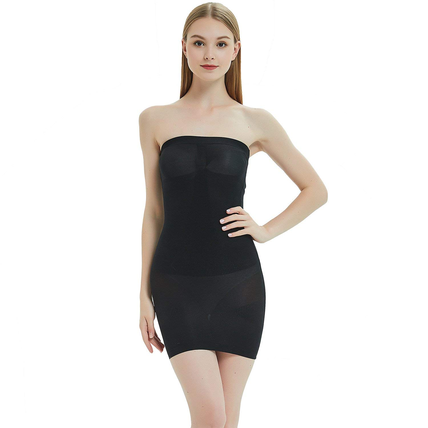 0c4a9d3d7d Get Quotations · Defitshae Women s Seamless Body Shapewear Strapless Tube  Slip Smooth Stretch Dress Shaper