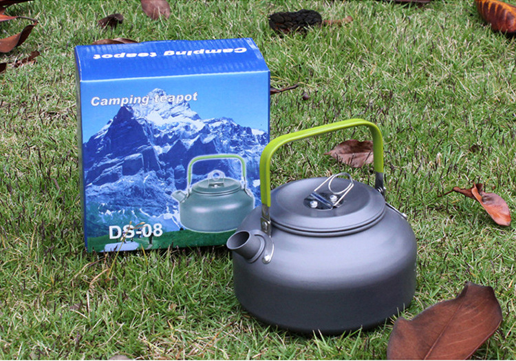 Portable 0.9L Camping Survival Water Kettle Teapot Pot Aluminum W// Mesh Bag