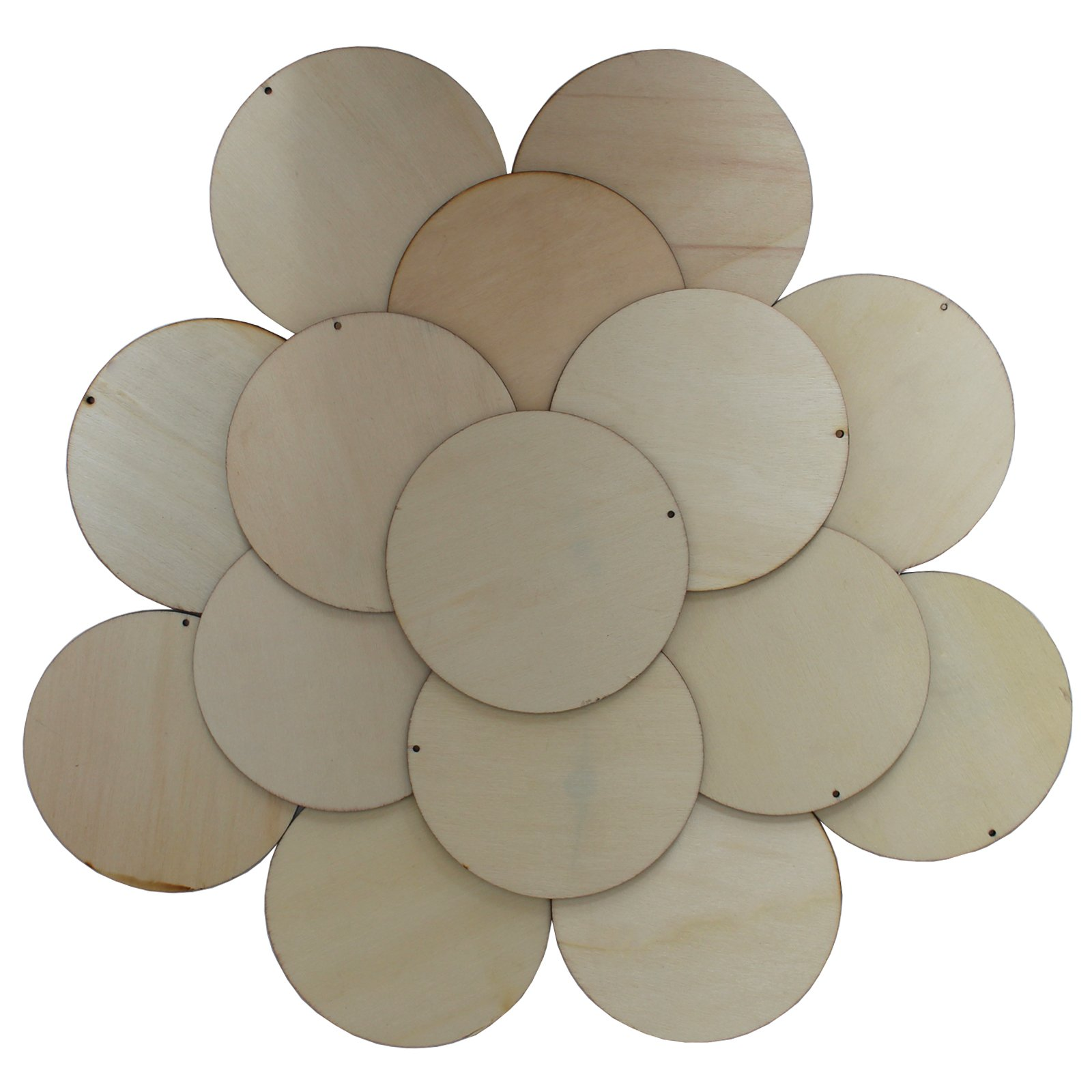 50 Pieces Natural Wooden Circles – 10 cm Unfinished Wooden Slices with Holes – Craft Wood Kit & Wooden Tags – Round Disc Wood Cutouts for Hanging Decorations, Painting, Birthday Party & DIY Ornaments