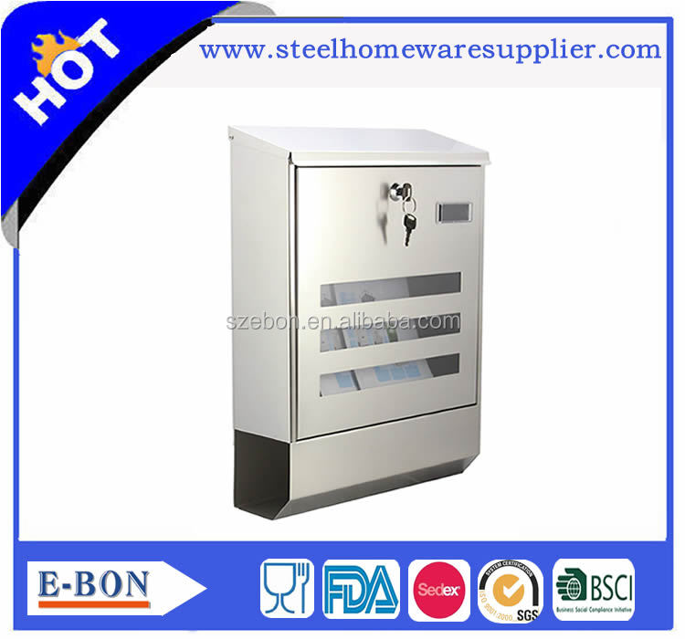 Stainless steel gift box in mailbox shape mail box and letter box with glass lid mailbox lock