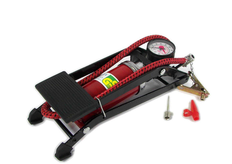 [Toolman] Portable Foot Air Pump For Bike, Ball, Tire, Pool (Single Barrel, Red)
