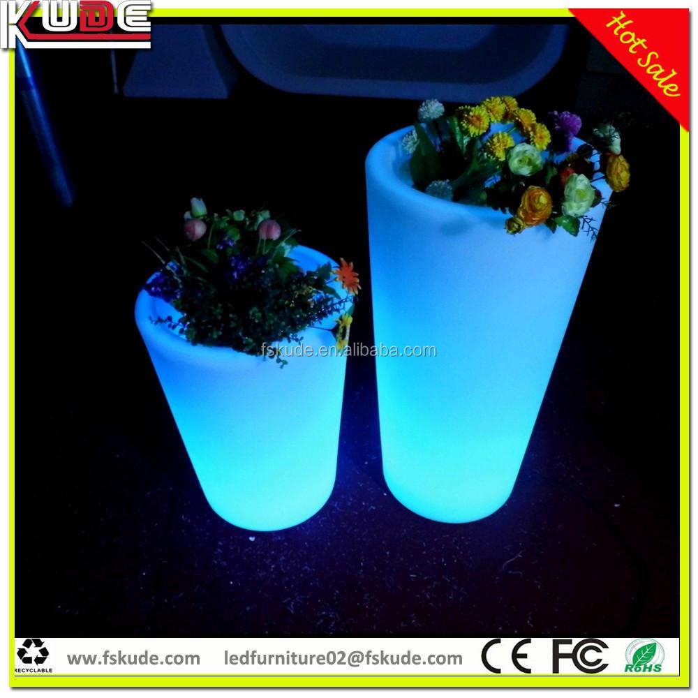 groothandel tuin potten led licht plastic bloempot led verlichte planter potten met afstandsbediening