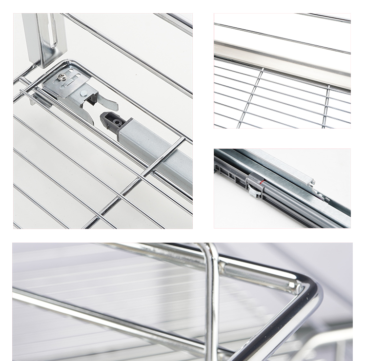 Multiple-function three side kitchen cabinet organizer storage pull out wire mesh basket