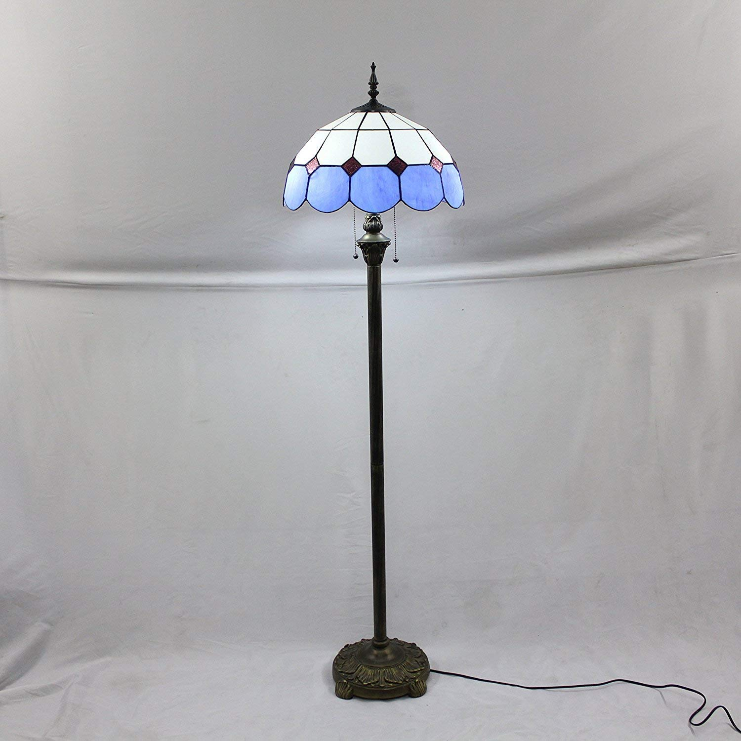 NN 16-Inch Mediterranean European Pastoral Style Elegant Luxury Creative Handmade Stained Glass Floor Lamp - Blue