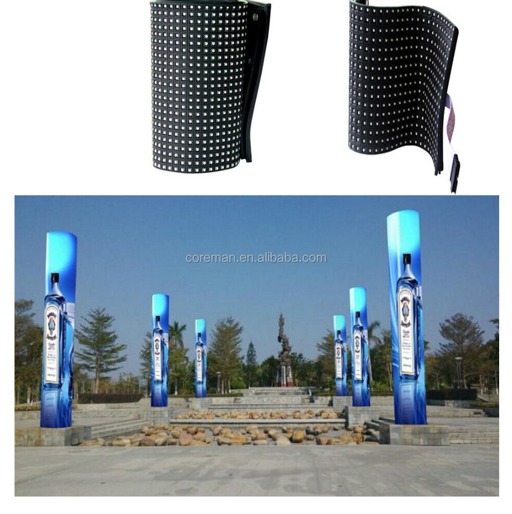 indoor outdoor p10 p12 p16 p20 outdoor advertising digital display screens four side different shape soft full color screen