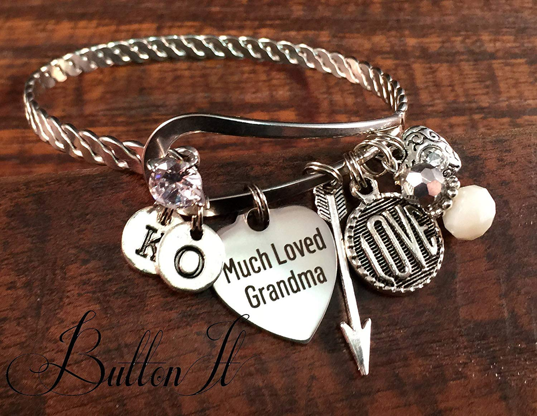 Gifts for Grandma, Grandma jewelry, Gifts for Mom, BANGLE bracelet, Bangle charm bracelets, Mother daughter jewelry, Grandma birthday, INITIAL bracelet,