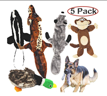 5 Pack Dog Toy Set Three no Stuffing Toy and Two Plush Pets Squeaky Toys Dog