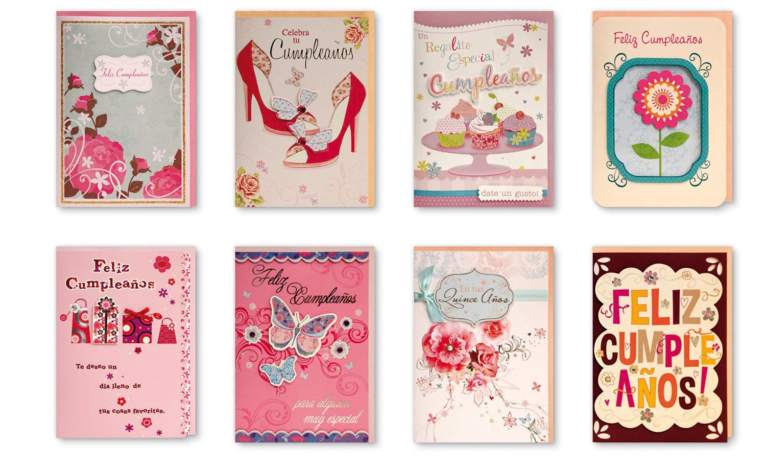 Assorted 8 Pack Boxed Handmade Embellished Spanish Birthday Greeting Cards Box Set Of Designs For