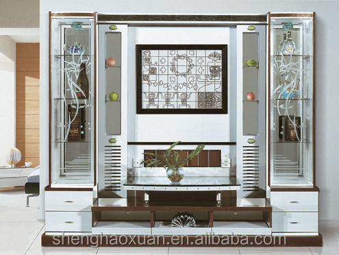 2014 New Design Tv Cabinet With Showcase Wall Unit Furniture 9918