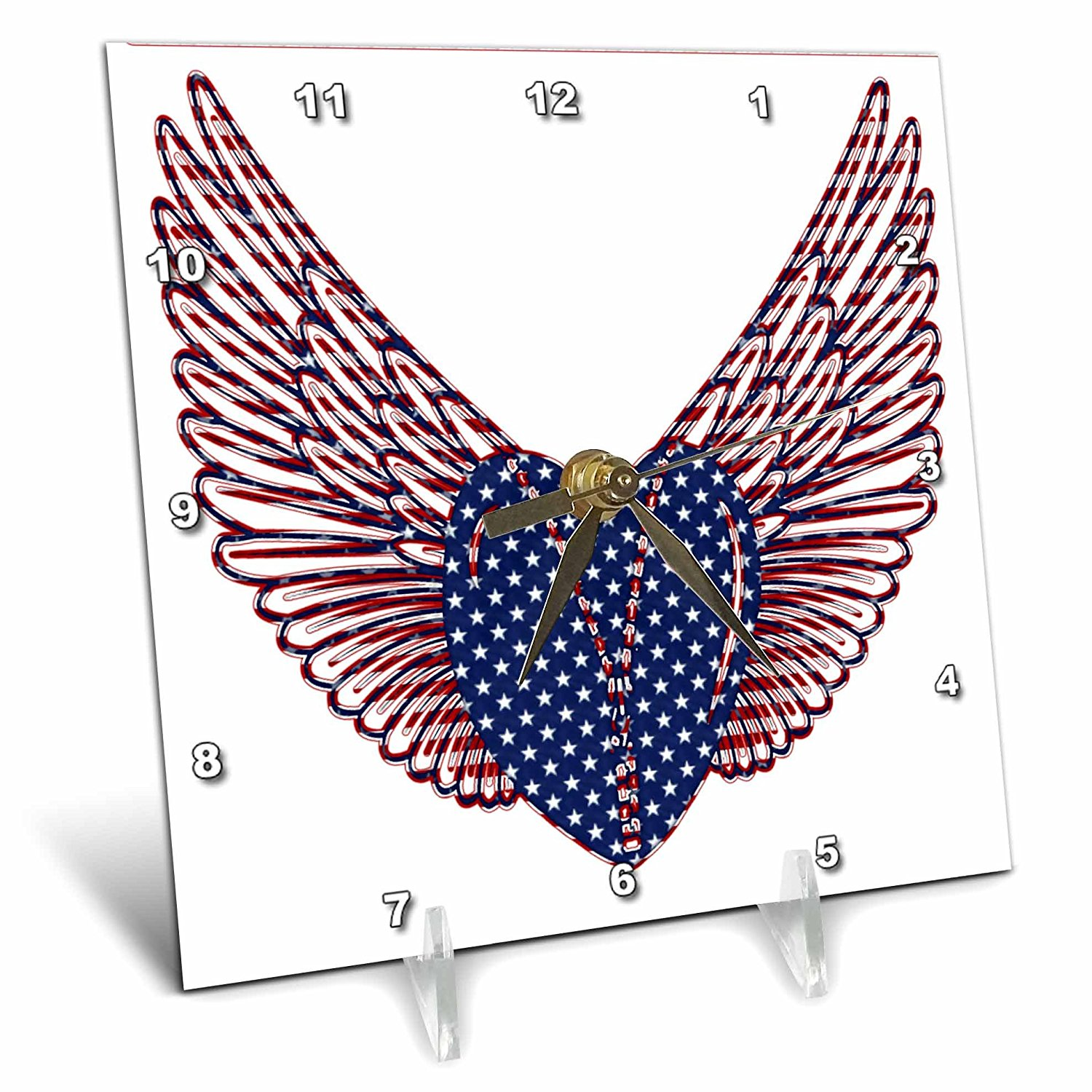 Anne Marie Baugh - Hearts - A Blue and White Star Heart With Red and Blue Wings - 6x6 Desk Clock (dc_235927_1)