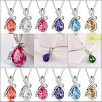 Wholesale Card Packing Stock JINHUA yiwu NEC2497 Light Blue Crystal Fashion Rhinestone Necklace For Lover