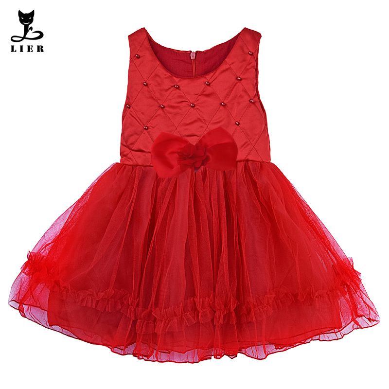 cfccd5a388543 Get Quotations · Autumn Girls Clothes 2015 Infant Baby Girl Sleeveless Red  Pearls Tulle Christmas Dress With Bow Children