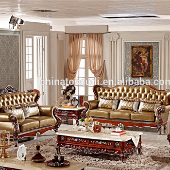 American classic style luxury cowskin genuine leather sectional sofa ...