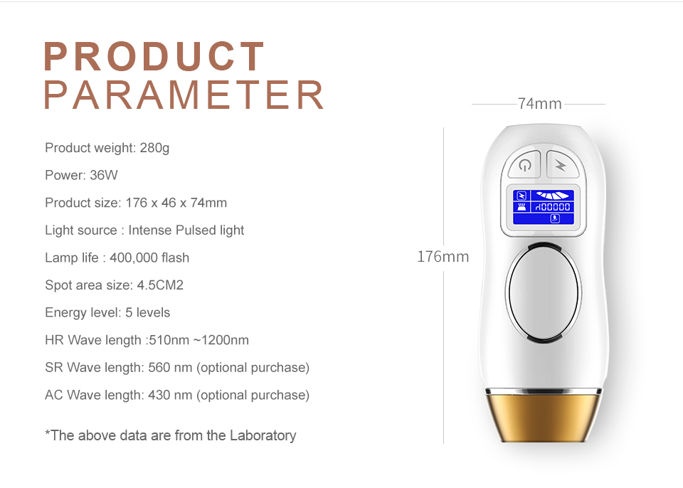 LCD Display Touch Screen Laser Epilator IPL Laser Permanent Hair Removal
