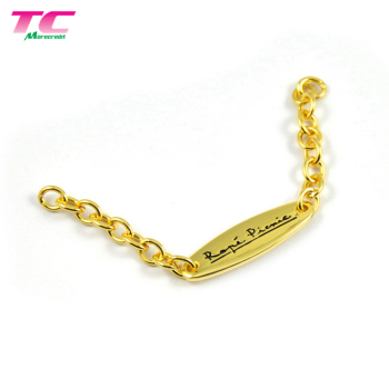 Shiny Gold Oval Metal Private Label Custom Logo Private Label With Chain For Garments