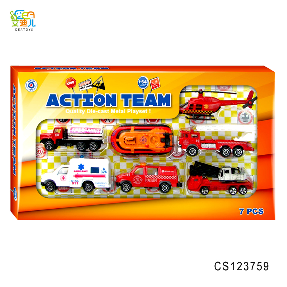 Hot selling Sliding alloy fire truck toys diecast cars with diecastboat toys
