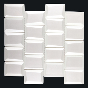 White tiles 3d mirror backsplash mosaic beveled edge wall bathroom tile new arrival
