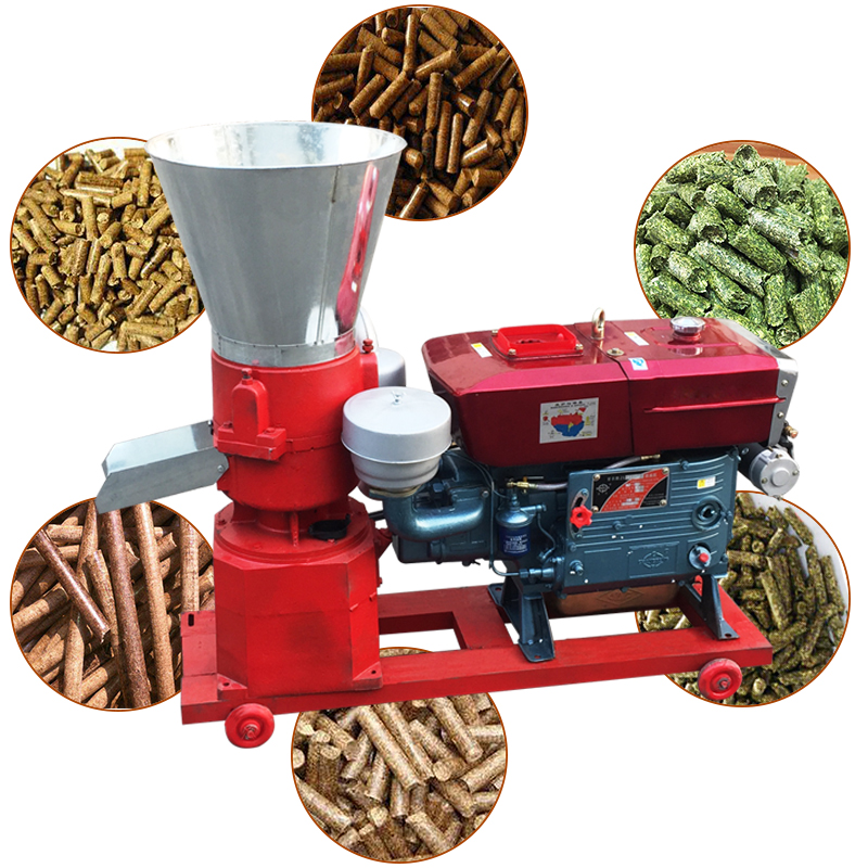 Mini diesel engine and manual sawdust straw grass walnut wood shell feed <strong>pellet</strong> mill machine 1 ton per hour price