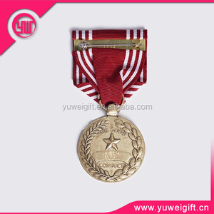 factory made ribbon medal of honor/metal award medal icon with pin backside