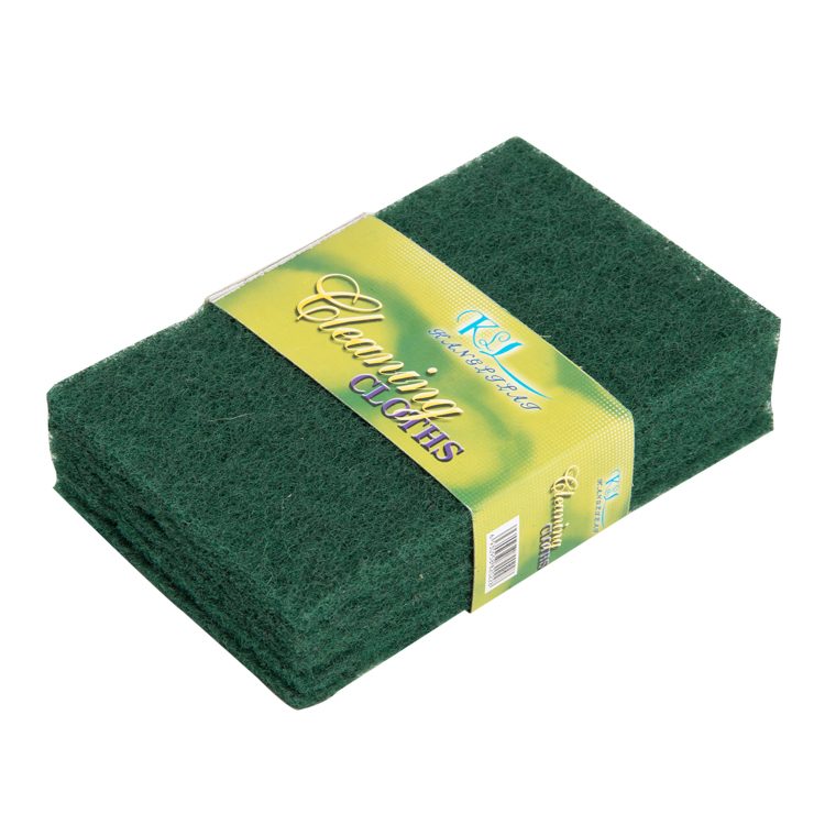 5pcs/card 15*10*0.7cm good quality polyester material green color kitchen dish non-scratch scouring pad