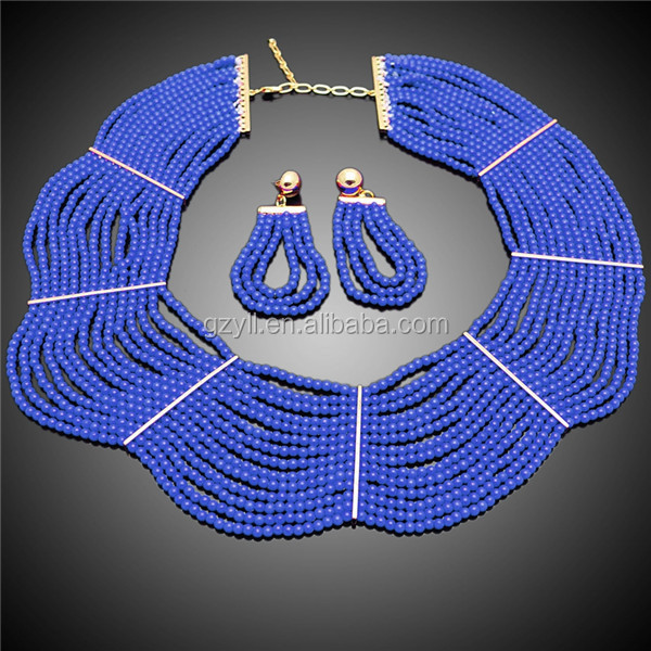costume bridal bead jewellery royal blue bead jewelry new arrival beaded set