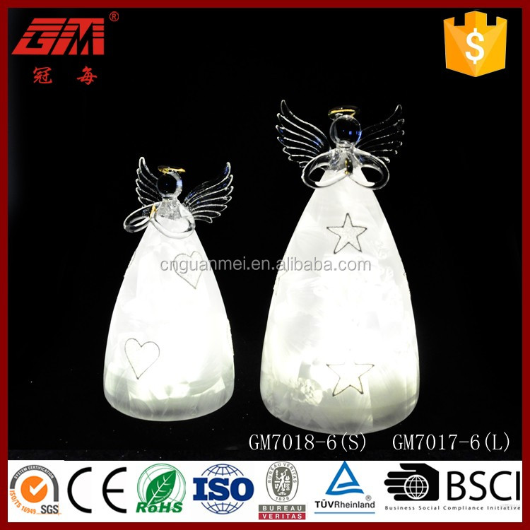 Wholesale glass Christmas star angel decorations with led light