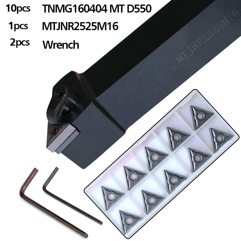 Boeray 1pcs MTJNR2525M16 Turning Tool Holder + 10pcs TNMG160404 MT D550 Carbide Inserts + 2pcs Wrench CNC Turning Tool