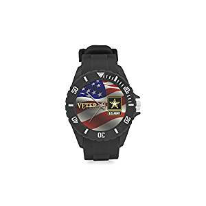 Birthday Gifts Military US Army Veteran and American Flag Kids' Round Rubber Sport Watch