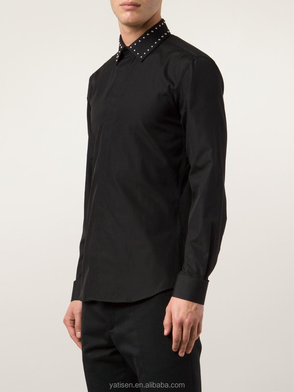 Shirt design for man 2016 - 2016 New Design For Man Black Plain Shirts For Man Custom Shirts With Shining Collars