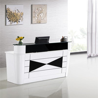 Furniture Wooden Counter Modern Curved Beauty Nail Salon Office Reception Desk