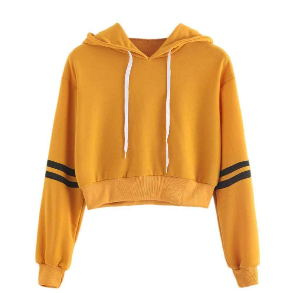 Snowfoller Yellow Hooded Pullover for Women,Fashion Striped Long Sleeve Sports Sweatshirt Cool Girls Hoodie Tops Blouse