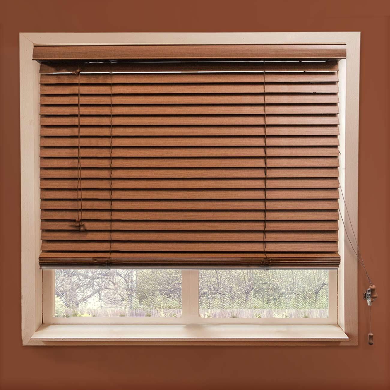 "Chicology Faux Blind 2"" Slats Realistic Wood Grain Embossing Horizontal Venetian, 39"" x 64"", Simply Brown"