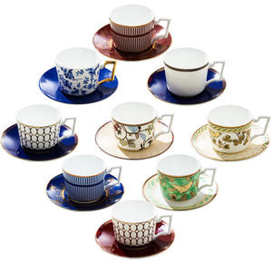 Custom different western printed patterns ceramic porcelain coffee tea cups and saucers sets