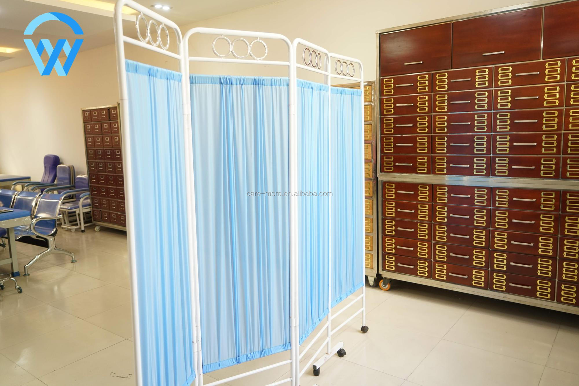 Durable Stainless Steel and Iron Material Medical Bedside Screen Three Folding Hospital Ward Screen
