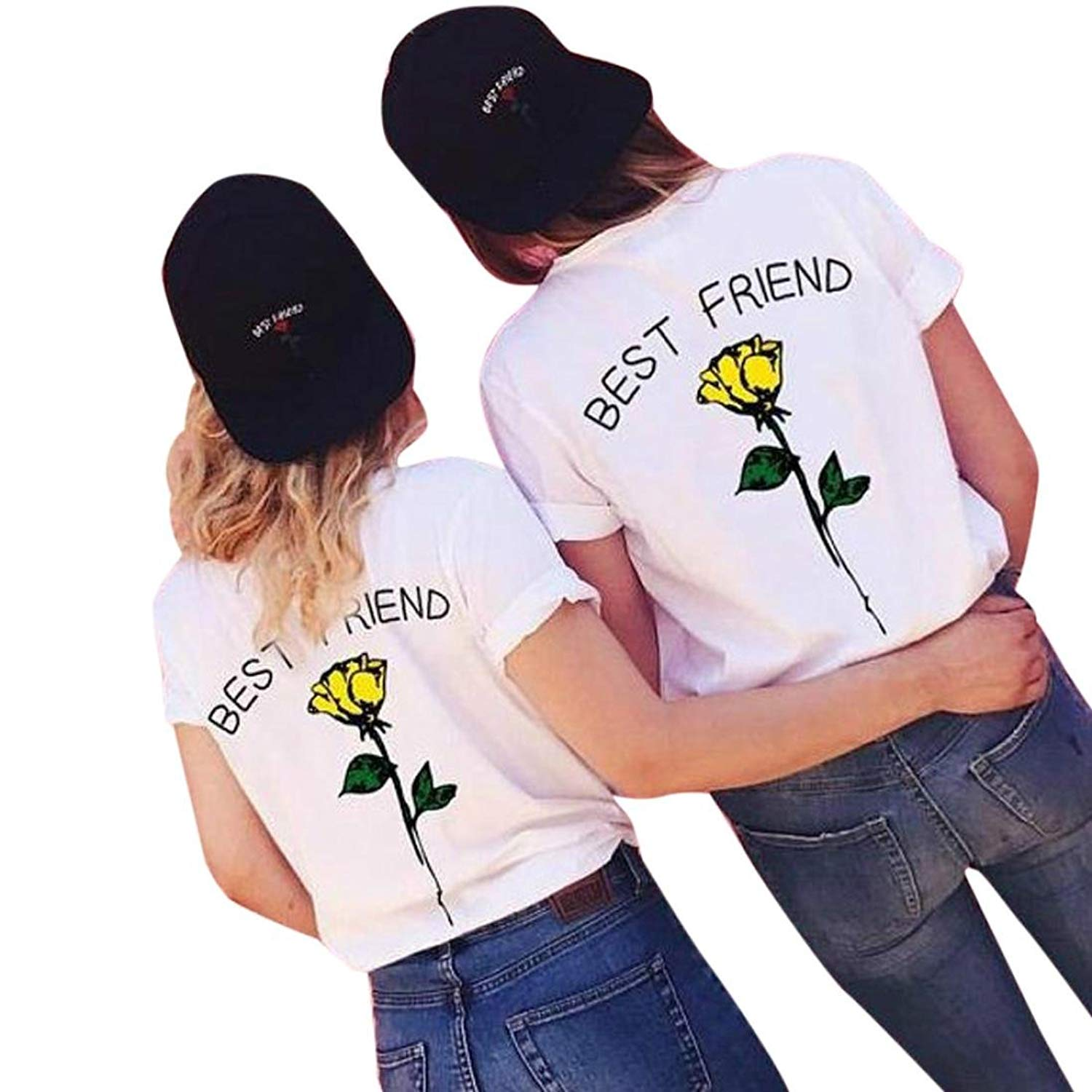 Clearance Women Tops!Women Best Friend Letters Rose Printed T Shirts Causal Blouses Plus Size Tops