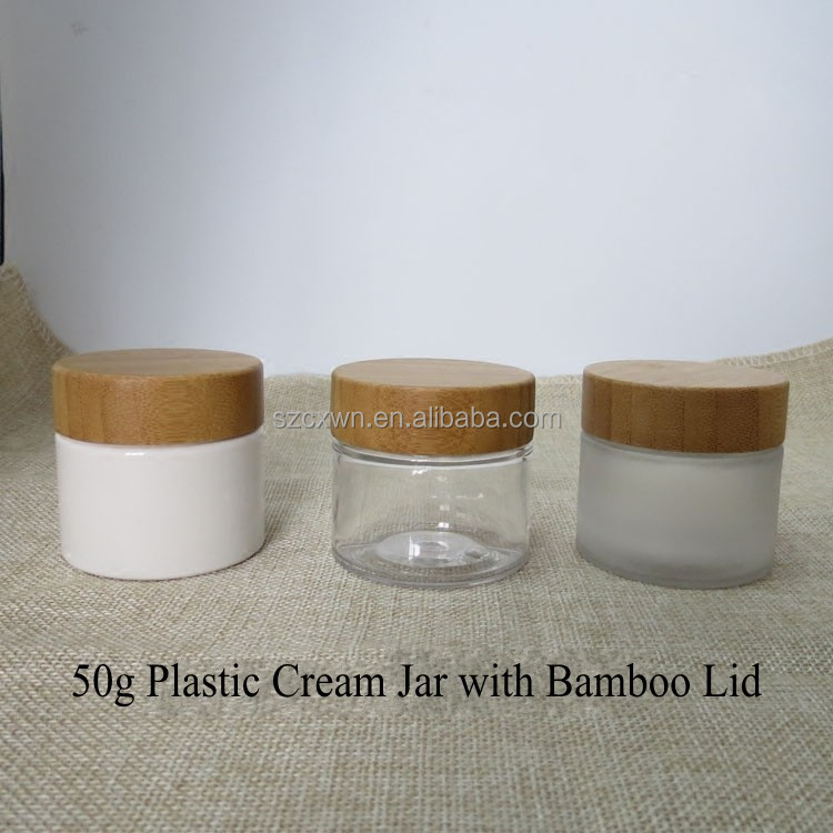 50g 50 ml bamboo wooden lids white amber frosted clear PET plastic cosmetic container cream pot jars