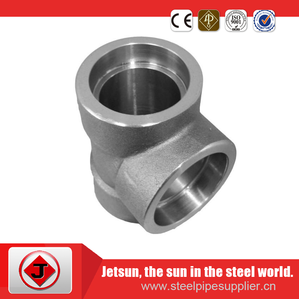 SW tee ASTM A105 304 304L 316 316L 1/8 to 4 inch socket welding tee