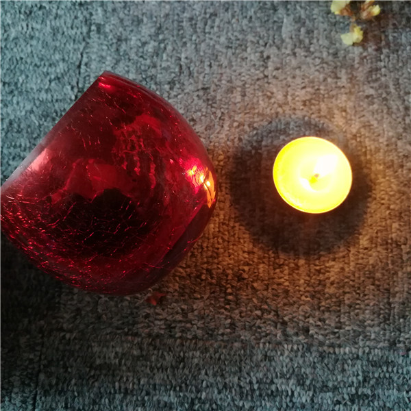 Red shaped glass candle jar holder home decoration wedding gift