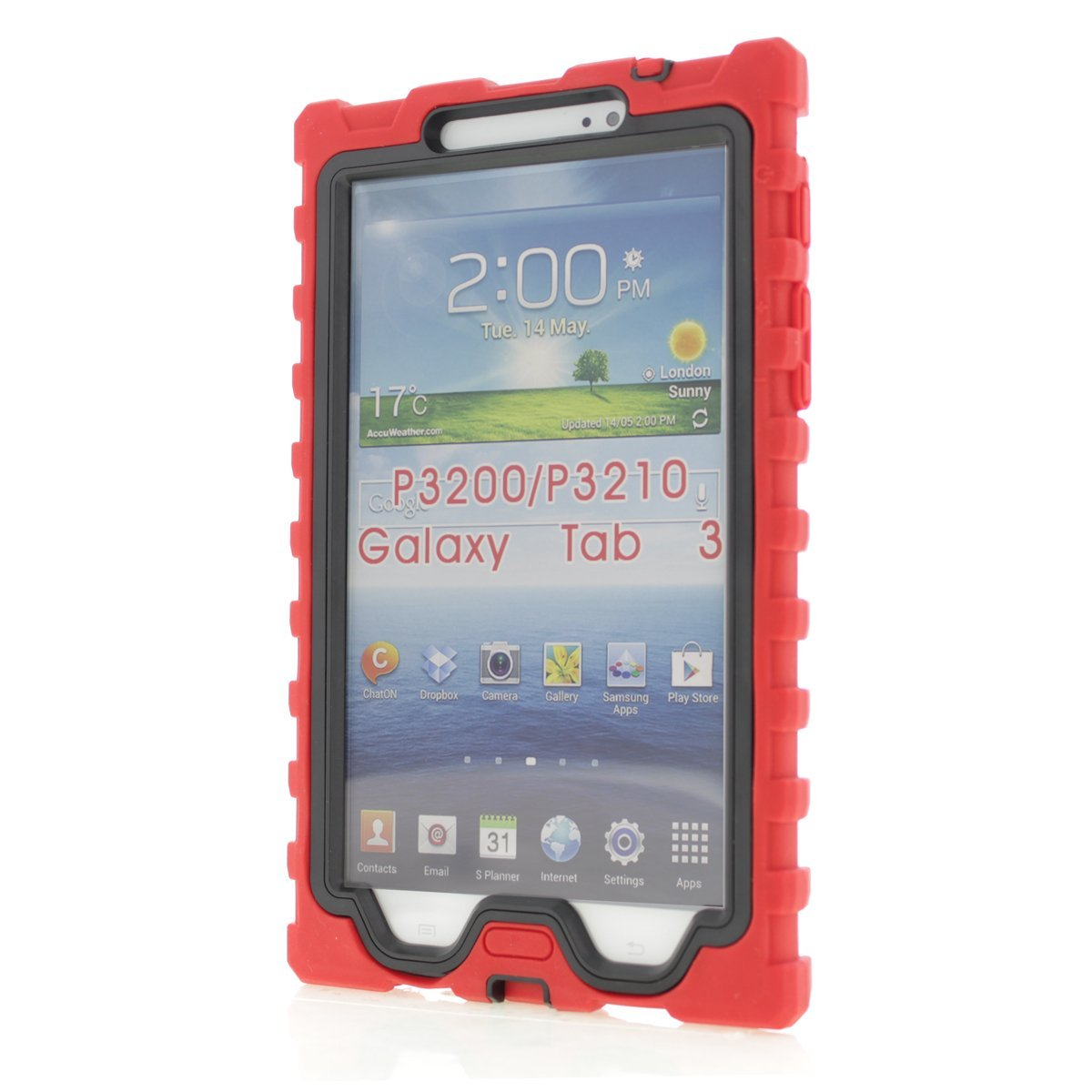 Get Quotations · Samsung Galaxy Tab 3 7 inch (2013) Red Shock Drop Hard  Candy Cases Silicone