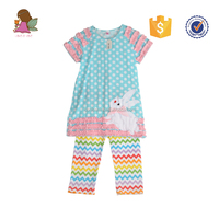 Conice nini rabbit smocked rainbow chevron children clothing wholesale
