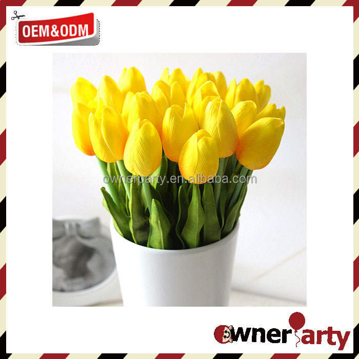 Real Touch PU Flowers Beautiful Indoor Decoration Artificial Tulip Flowers